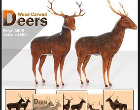 3D model Wood Carved Deers