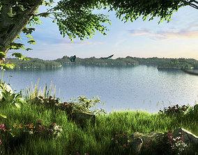 Lakeside park scenery 004 3D model