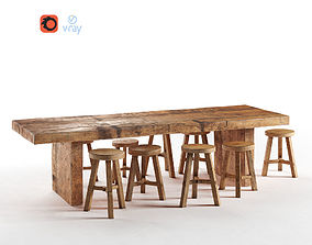 Wooden Dining Table 3D model game-ready