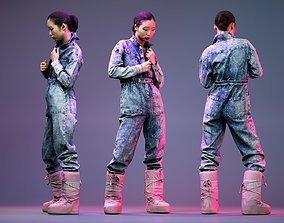 Asian wearing Jeans Salopet Posing in Pink 3D asset