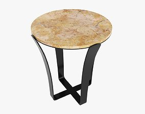 Side round table with marble top 3D model