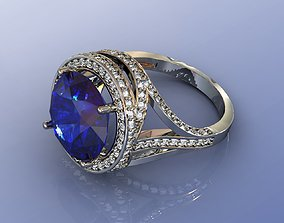 3D print model Sapphire Cocktail Ring with Diamonds