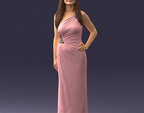 Brunette in a pink evening dress 0228 3D Print Ready