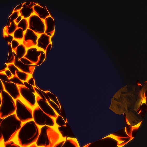 Fire man is Can't Burn Blender Monkey!