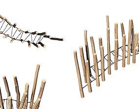 balance 3D Playground Wooden Log Balance Beam