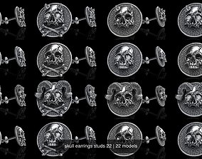 skull earrings studs 22 3D model