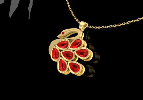 Swan Male Pendant Jewelry Gold 3D print model