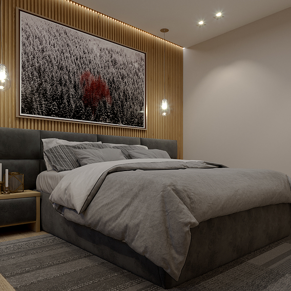 Bed in a modern style interior