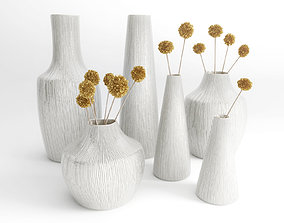 Vases with dried flowers 3D