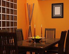 Orange Dining Room 3D