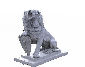 3D Lion statue with shield