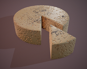 3D model low-poly Gorgonzola Cheese
