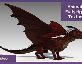 Animated dragon 3d model rig textured animated
