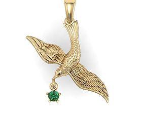 pendant bird gull with gems 3D printable model