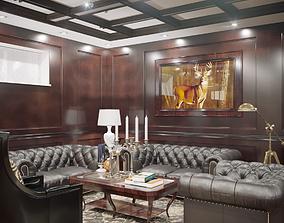 Interior Neoclassic Billiard Room 01 3D