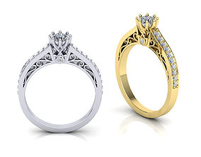 Art-deco Engagement ring 3d model N0296