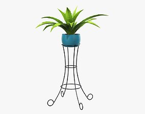 3D Plant potted 04 on console