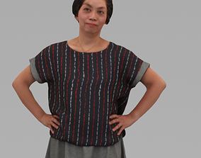3D A Middle-age Woman Posing In Akimbo In Half Body