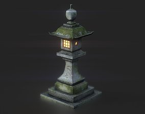 3D model low-poly Stone Japanesse latern Tachi-gata