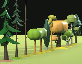 Low Poly tree collection 3D model VR / AR ready