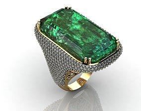 3D printable model Emerald Diamond Engagement Ring 4