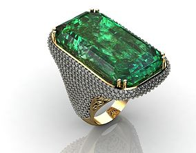3D print model Emerald Diamond Engagement Ring Yellow 3
