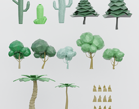 set Low poly trees 3D model VR / AR ready