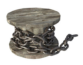 3D model Steel Chain and Spool PBR