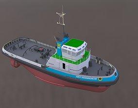 3D tug boat sea