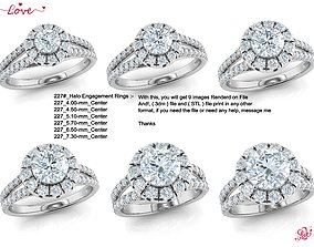 Halo engagement ring 6-file Collection 3D