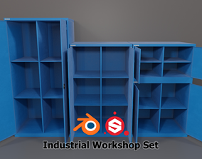 3D model Industrial Workshop Basic Cabinets Solid PBR