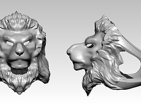 3D print model wild angry cat lion head face jewel ring