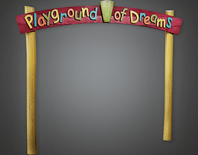 3D model PAP - Playground Sign - PBR Game Ready