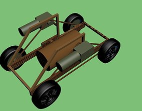 Toy trolley with guns 3D model