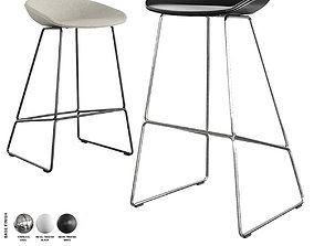 Hay - About A Stool Barstool and Counter Stool 3D model 2
