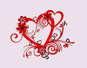 Cute Flower Heart - Sign -1- 3D model