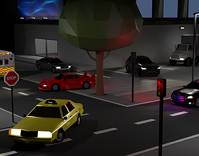 3D model Rigged Low Poly Car Collection