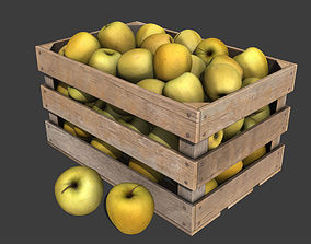 3D Crate with Yellow Apples