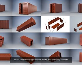 3D 3-6-12 Meter Shipping Container Model Kit Collection