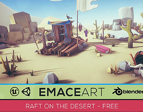 3D model game-ready Free Low Poly - Raft on the desert