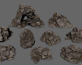 3D model VR / AR ready rocks dune winter