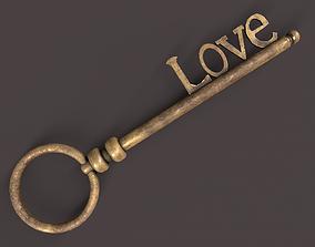 3D model Medieval Copper Key V3