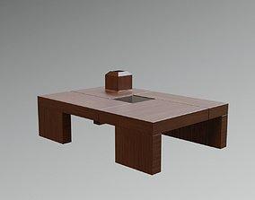 Zen Japanese Modern Wooden Coffee Table Lowpoly 3D model