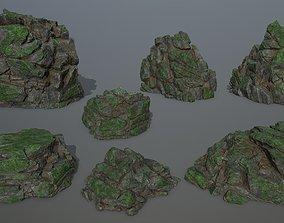 3D model rocks mossy
