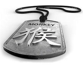 Monkey Chinese Zodiac Pendant design 3D printable model