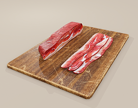 Bacon on Cutting Board 3D asset
