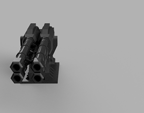 quad barrel cannon 3D printable model