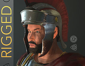 3D model low-poly Roman Soldier With Beard Rigged