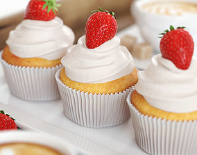 Strawberry Cupcakes and Coffee 3D