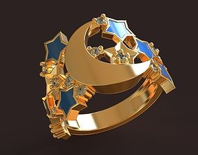 Silent Night Golden Ring with stars and 3D printable model
